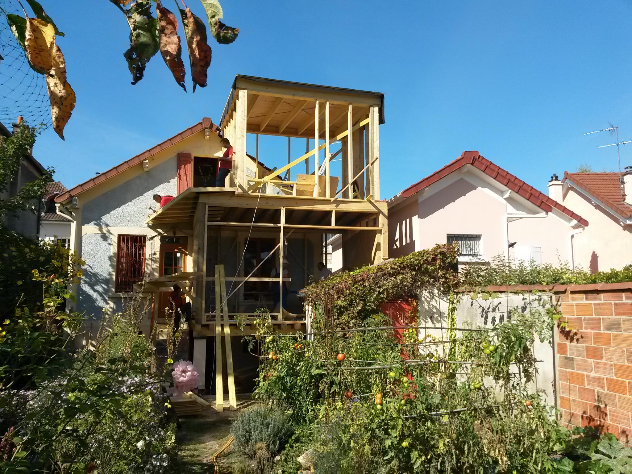Extension bois sur deux niveaux agence o for Extension bois 2 niveaux